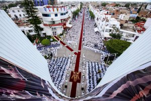 Faithful take part in the 2018 annual holy convocation of La Luz del Mundo church on Aug. 14, 2018, in Guadalajara, Mexico, where its headquarters are located. (Credit: Ulises Ruiz / AFP / Getty Images)