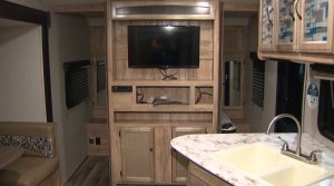 Inside one of ten trailers sent to South L.A. to house homeless families on Feb. 13, 2020. (Credit: KTLA)