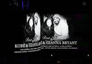 Electronic billboard displayed at LA Live to honor Kobe and daughter Gigi Bryant before the game between the Los Angeles Lakers and the Portland Trail Blazers at Staples Center on Jan. 31, 2020. (Credit: Kevork Djansezian/Getty Images)
