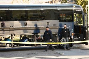 An investigation was underway in Lebec after one person was killed and five were shot aboard a Greyhound bus headed to the Bay Area on Feb. 3, 2020. (Credit: Al Seib / Los Angeles Times)