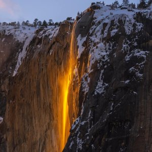 "A ""firefall"" is seen in this undated photo from Horsetail Fall at Yosemite National Park. (Credit: @magicphoto78/Instagram via CNN)"