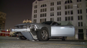 A Ford Mustang is seen in a lot in downtown Los Angeles after a pursuit on Feb. 17, 2020. (Credit: KTLA)