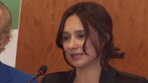 Sochil Martin details allegations against the La Luz Del Mundo Church at a news conference in Los Angeles, Feb. 13, 2020. (Credit: KTLA)