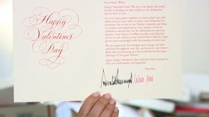 A card signed by President Donald Trump and first lady Melania Trump sent to Stockton veteran Maj. Bill White is seen on Feb. 13, 2020. (Credit: KTXL)